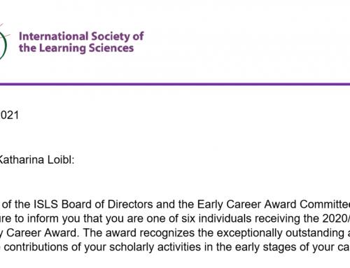 Katharina Loibl erhält 2020/2021 ISLS Early Career Award